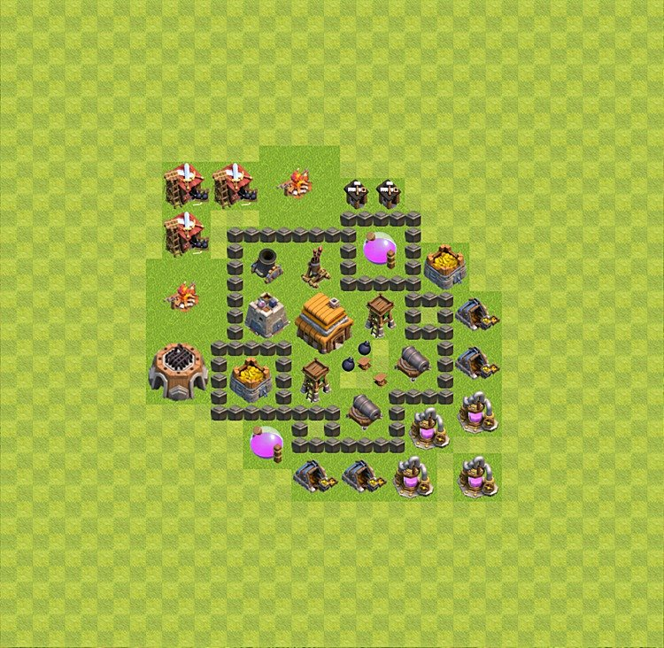 Base plan (layout) for trophies collecting TH  4 (Town Hall level 4, TH 4), variant 23