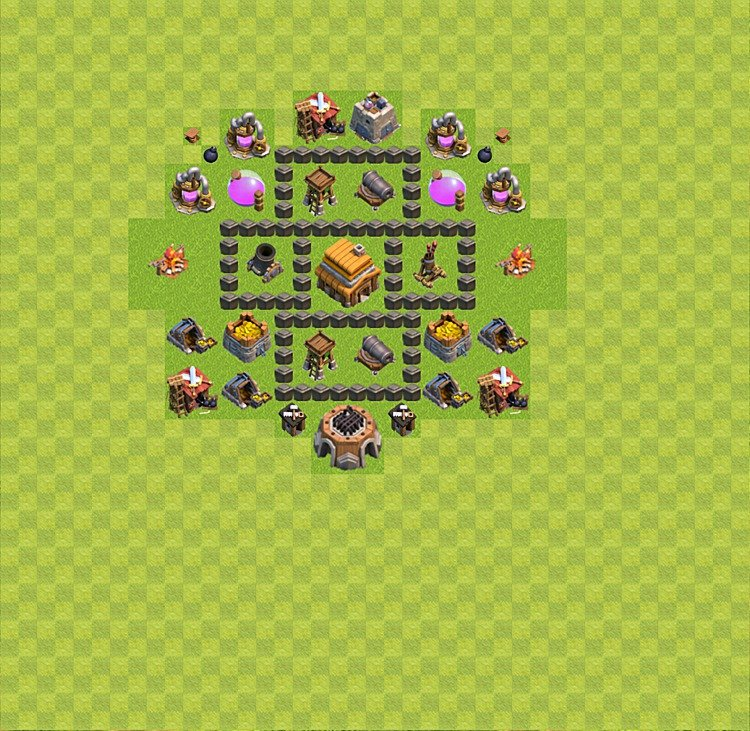 Base plan (layout) for trophies collecting TH  4 (Town Hall level 4, TH 4), variant 24