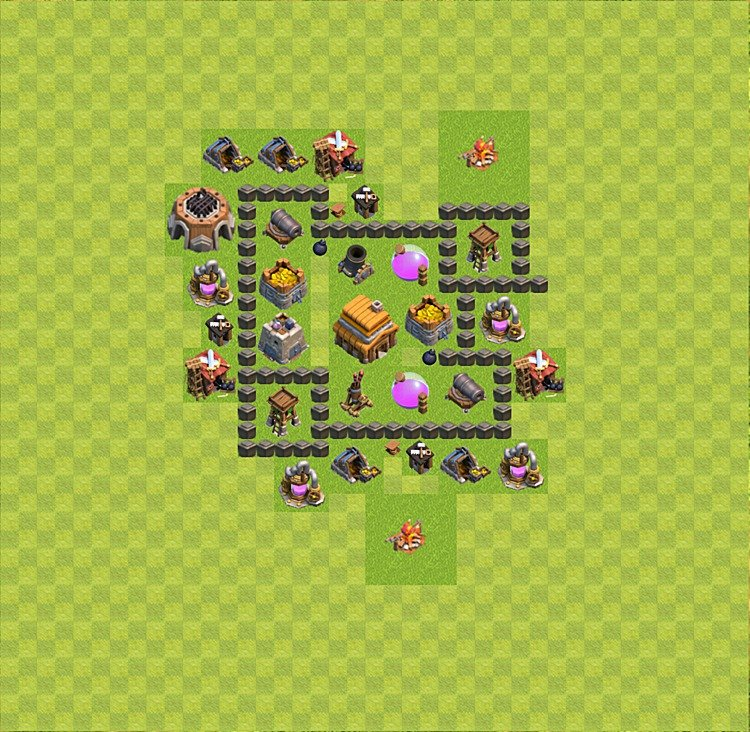 Base plan (layout) for trophies collecting TH  4 (Town Hall level 4, TH 4), variant 25