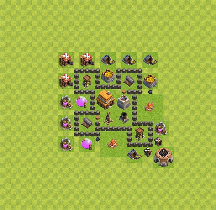 Base plan (layout) for trophies collecting TH  4 (Town Hall level 4, TH 4), variant 26