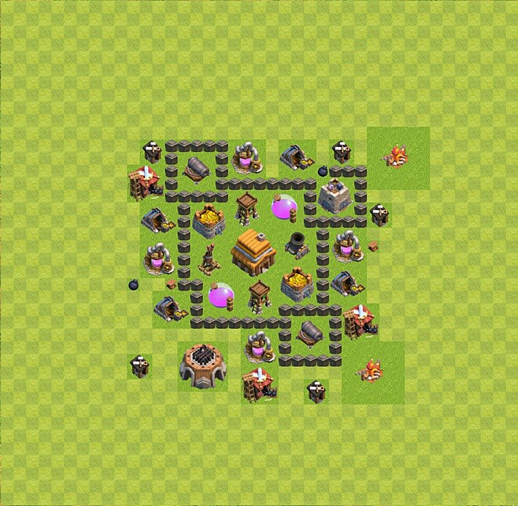 Base plan (layout) for trophies collecting TH  4 (Town Hall level 4, TH 4), variant 27