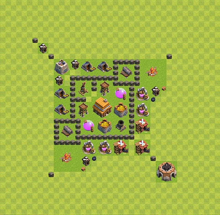 Base plan (layout) for trophies collecting TH  4 (Town Hall level 4, TH 4), variant 28