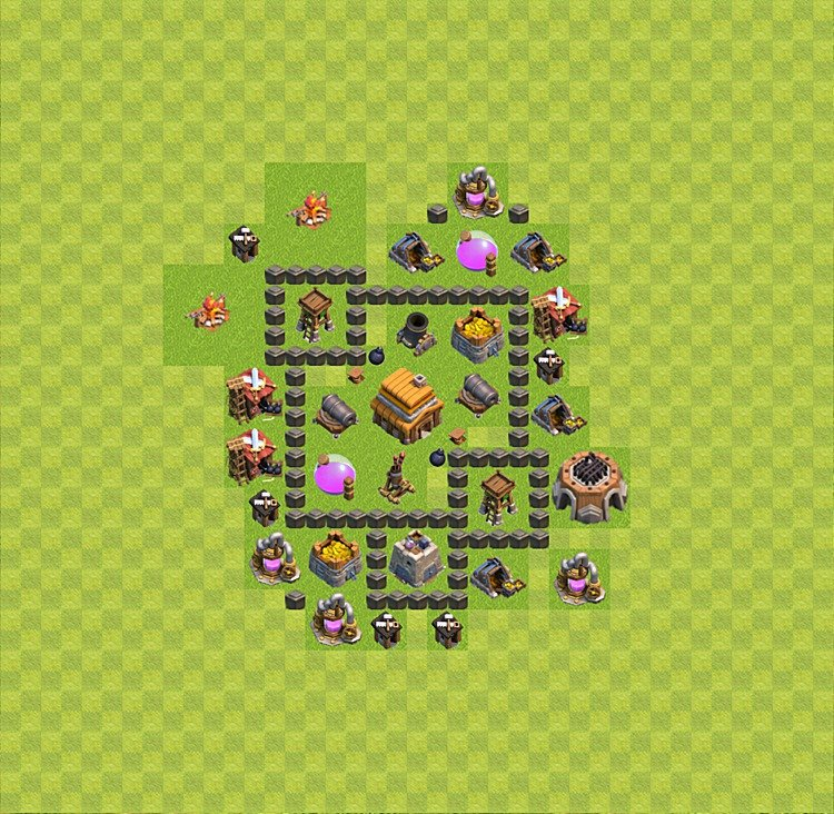 Base plan (layout) for trophies collecting TH  4 (Town Hall level 4, TH 4), variant 3
