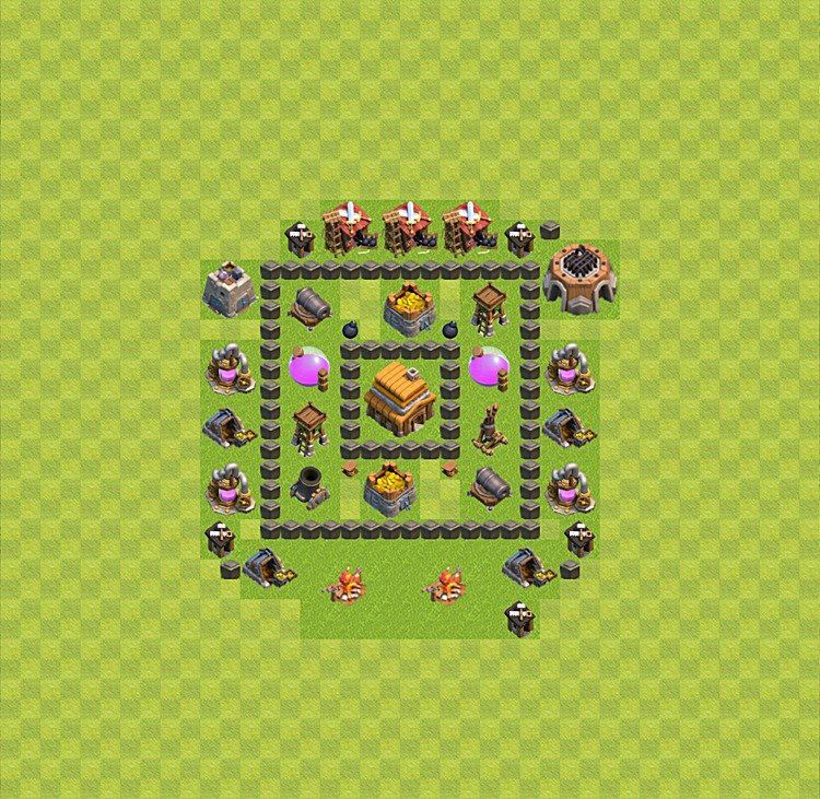 Base plan (layout) for trophies collecting TH  4 (Town Hall level 4, TH 4), variant 31