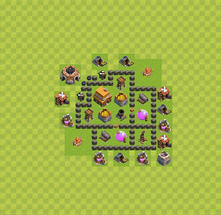 Base plan (layout) for trophies collecting TH  4 (Town Hall level 4, TH 4), variant 34