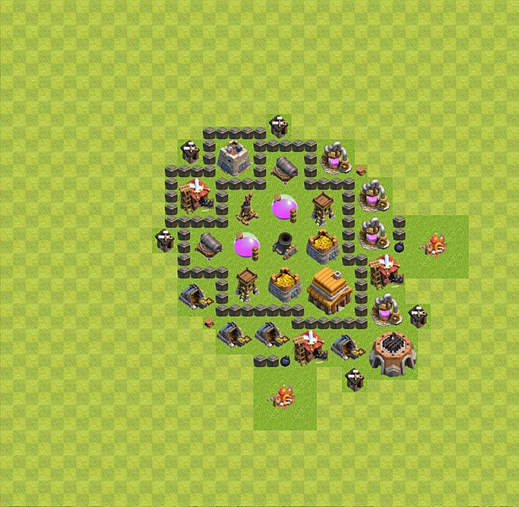 TH4 Trophy Base Plan, Town Hall 4 Base Design, #35