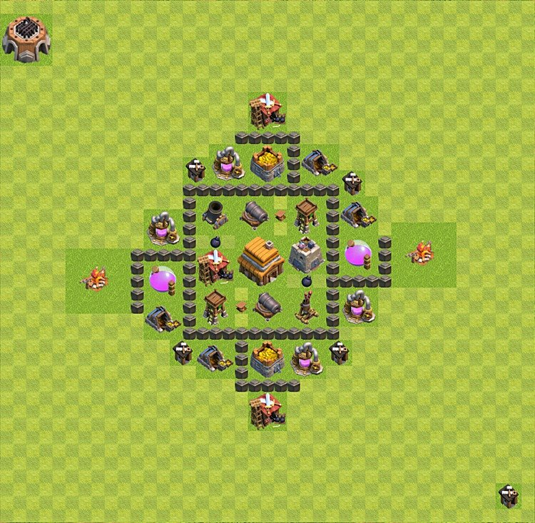 Base plan (layout) for trophies collecting TH  4 (Town Hall level 4, TH 4), variant 37