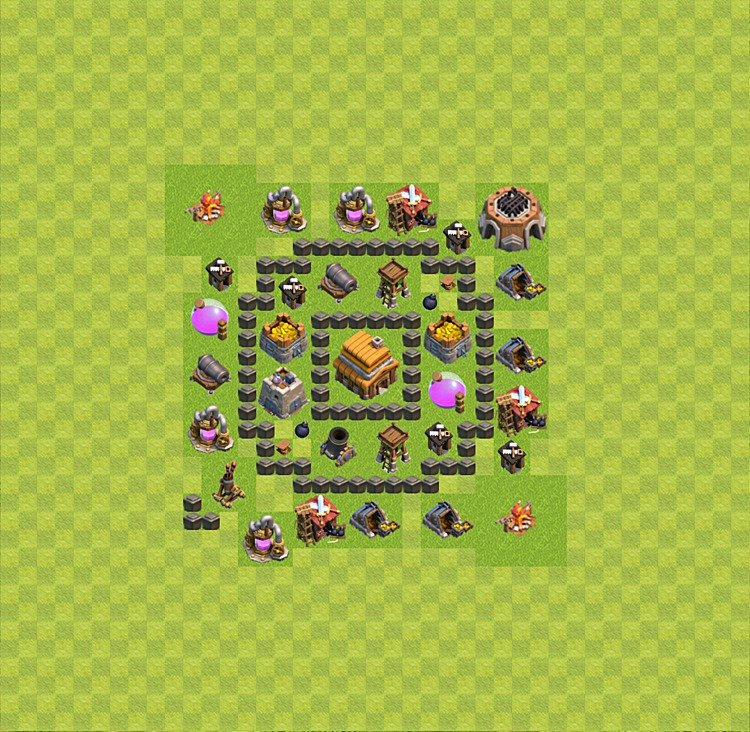 Base plan (layout) for trophies collecting TH  4 (Town Hall level 4, TH 4), variant 38