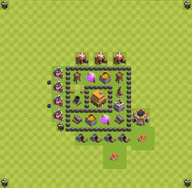 Base plan (layout) for trophies collecting TH  4 (Town Hall level 4, TH 4), variant 40