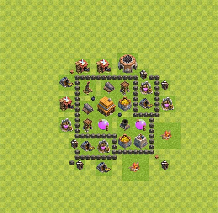 TH4 Trophy Base Plan, Town Hall 4 Base Design, #41