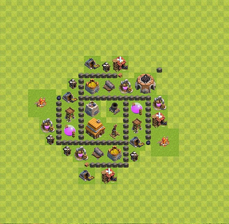 Base plan (layout) for trophies collecting TH  4 (Town Hall level 4, TH 4), variant 44