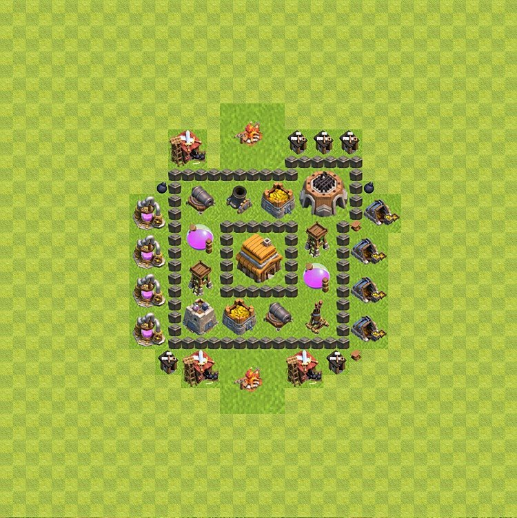 Base plan (layout) for trophies collecting TH  4 (Town Hall level 4, TH 4), variant 47