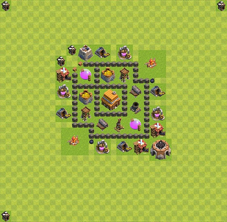 Base plan (layout) for trophies collecting TH  4 (Town Hall level 4, TH 4), variant 5