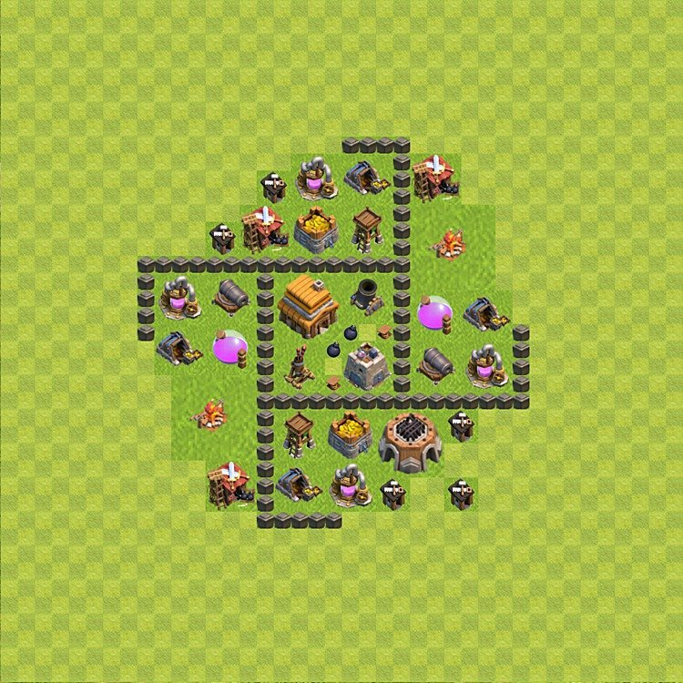 Base plan (layout) for trophies collecting TH  4 (Town Hall level 4, TH 4), variant 50
