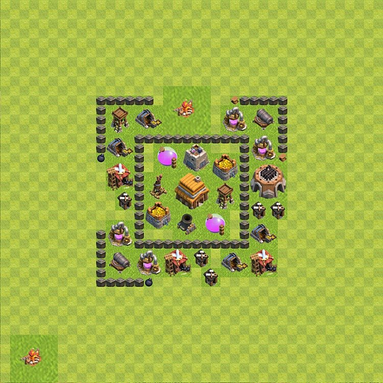 Base plan (layout) for trophies collecting TH  4 (Town Hall level 4, TH 4), variant 52