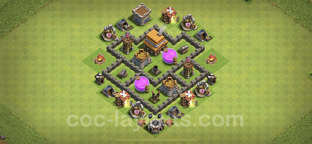 Anti Everything TH4 Base Plan with Link, Copy Town Hall 4 Design 2020, #53