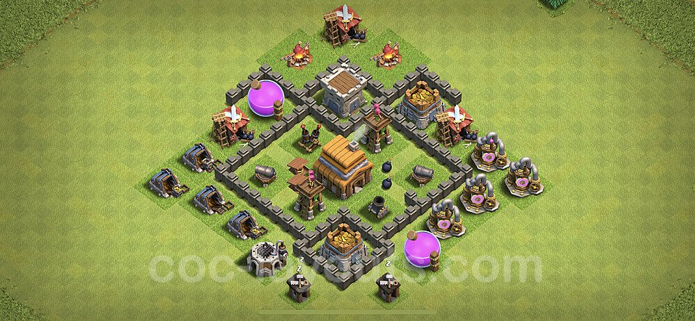 TH4 Anti 3 Stars Base Plan with Link, Copy Town Hall 4 Base Design 2020, #56