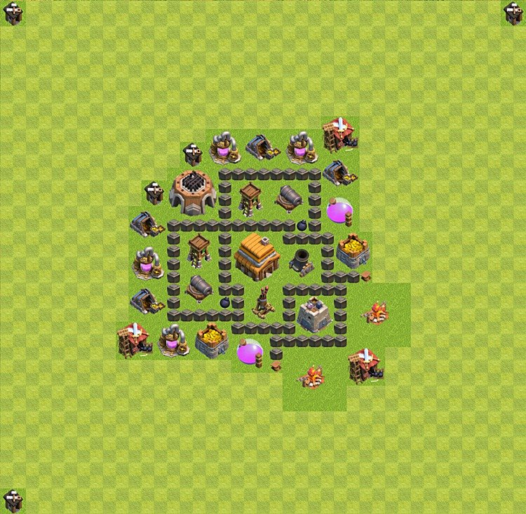 Base plan (layout) for trophies collecting TH  4 (Town Hall level 4, TH 4), variant 8