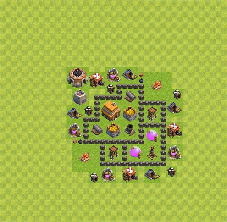 Base plan (layout) for trophies collecting TH  4 (Town Hall level 4, TH 4), variant 9