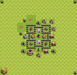 Base plan Town Hall level 4 for farming (variant 21)