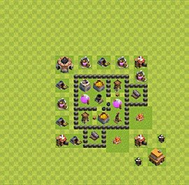 Base plan Town Hall level 4 for farming (variant 22)