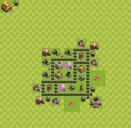 Base plan Town Hall level 4 for farming (variant 23)