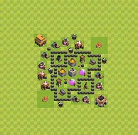 Base plan Town Hall level 4 for farming (variant 24)