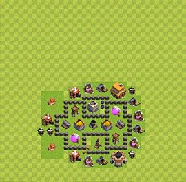 Base plan Town Hall level 4 for farming (variant 25)