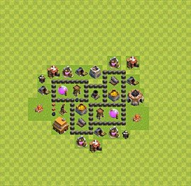 Base plan Town Hall level 4 for farming (variant 27)