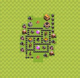 Base plan Town Hall level 4 for farming (variant 28)