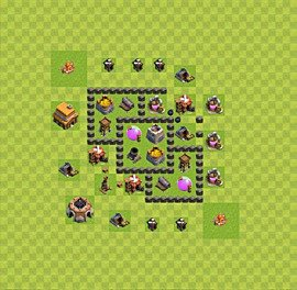 Base plan Town Hall level 4 for farming (variant 29)