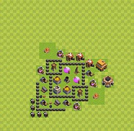 Base plan Town Hall level 4 for farming (variant 30)