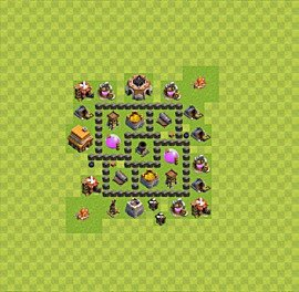 Base plan Town Hall level 4 for farming (variant 31)
