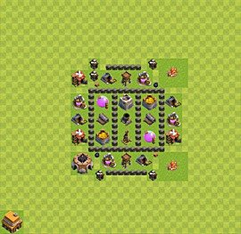 Base plan Town Hall level 4 for farming (variant 32)