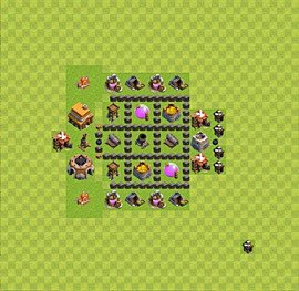 Base plan Town Hall level 4 for farming (variant 33)