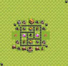 Base plan Town Hall level 4 for farming (variant 34)