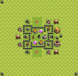 Base plan Town Hall level 4 for farming (variant 35)