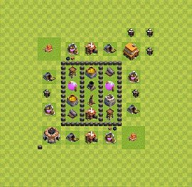 Base plan Town Hall level 4 for farming (variant 36)