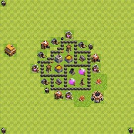 Base plan Town Hall level 4 for farming (variant 42)