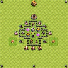 Base plan Town Hall level 4 for farming (variant 43)