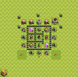 Base plan Town Hall level 4 for farming (variant 8)