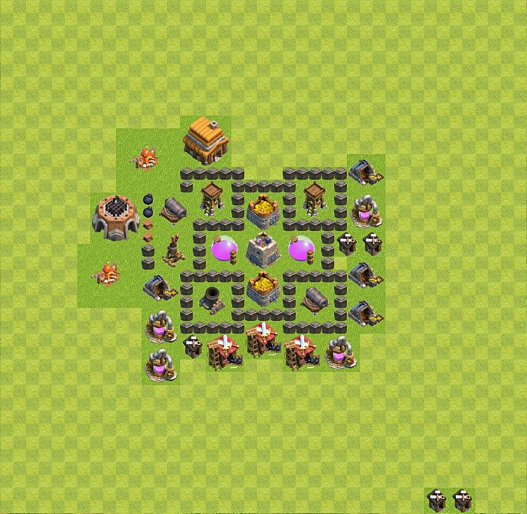 Base plan TH4 (design / layout) for Farming, #1