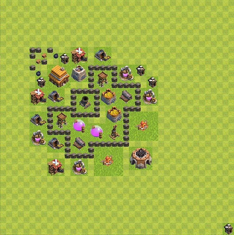 base plan layout for farming th 4 town hall level 4 - Layout Cv 4 Clash Of Clans