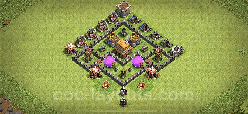 Base plan TH4 Max Levels with Link for Farming 2020, #46