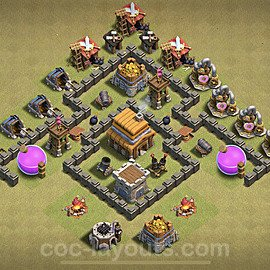TH4 War Base Plan with Link, Copy Town Hall 4 Design 2020, #1