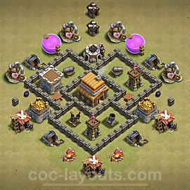 TH4 Max Levels War Base Plan with Link, Copy Town Hall 4 Design 2020, #2
