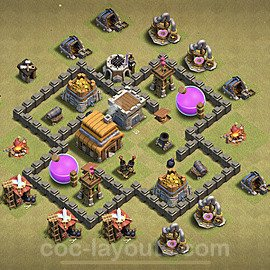 TH4 Anti 3 Stars War Base Plan with Link, Copy Town Hall 4 Design 2020, #3