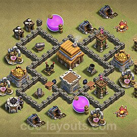 TH4 Anti 2 Stars War Base Plan with Link, Copy Town Hall 4 Design 2020, #4