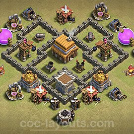 TH4 Anti 3 Stars War Base Plan with Link, Copy Town Hall 4 Design 2020, #5