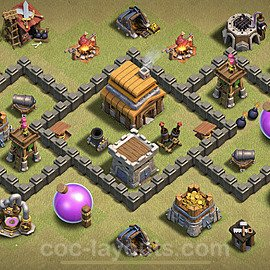 TH4 War Base Plan with Link, Copy Town Hall 4 Design 2020, #6